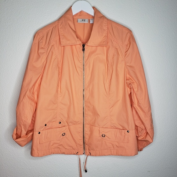 Chico's Jackets & Blazers - Chico's Cantaloupe Peach Cotton Lightweight Jacket